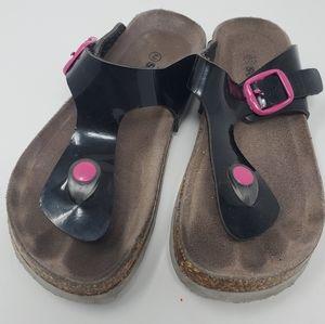 Soft Moc Girls Sandals w/pink buckles